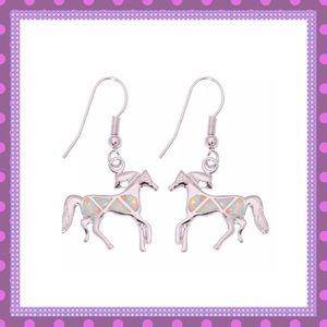 🐴Silver Opal Filled Horse Dangle Earrings🐴